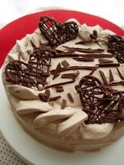 バレンタインデコレーションケーキの写真