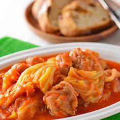 鶏もも肉とキャベツのトマトの煮込み