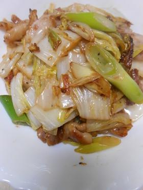 豚ばら肉と白菜と長ねぎの3点梅肉炒め