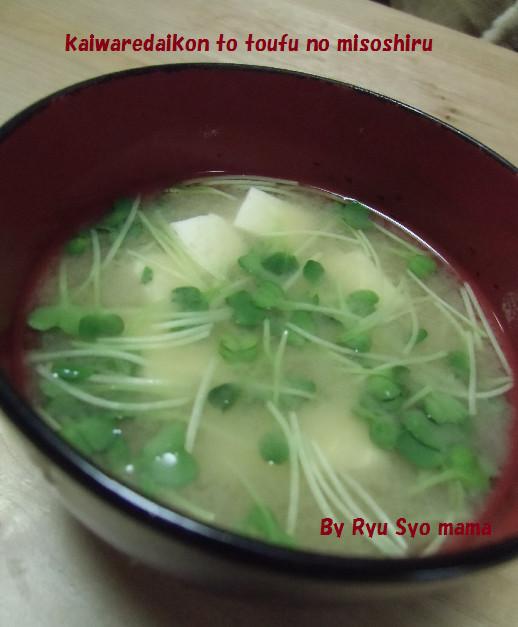 貝割れ大根と豆腐のお味噌汁