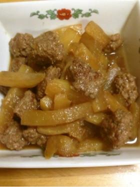 簡単♪メインに合挽き肉と大根の甘辛煮