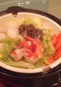 蒸し温野菜の胡麻だれぽんず鍋