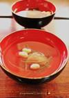 煎り大豆・昆布・梅干・鰹削り節でお吸い物