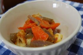 人参と竹輪(と蒟蒻)の甘味噌煮