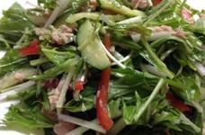 ヘルシー♪水菜とツナ缶のサラダ☆