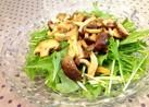 *水菜の簡単きのこドレッシングサラダ*