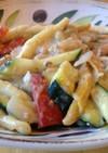鮭缶とズッキーニのクリームパスタ