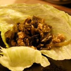 高菜と豚ひき肉のレタス包み