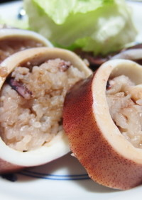 イカゲソご飯のイカ詰め焼き