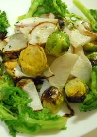 カブと芽キャベツのロースト菜の花のサラダ