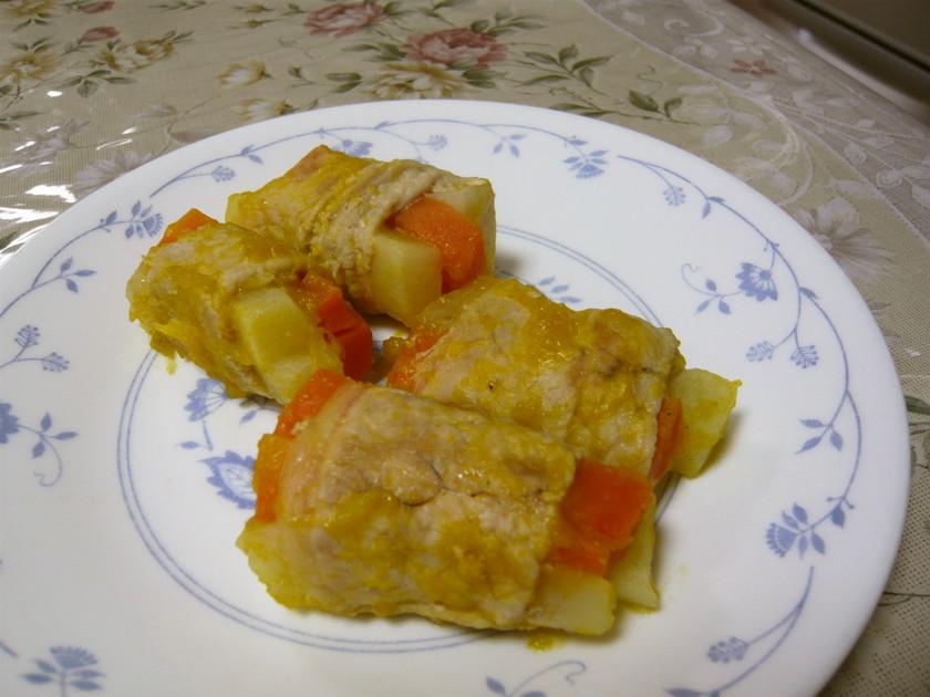 離乳食後期☆根菜の肉巻き煮込み