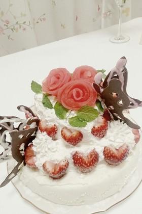 バラとチョウの簡単ウエディングケーキ♡