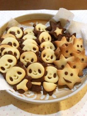 型抜きパンダクッキー