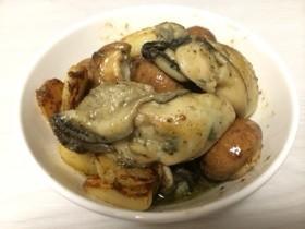 牡蠣とマッシュルームのガーリック炒め