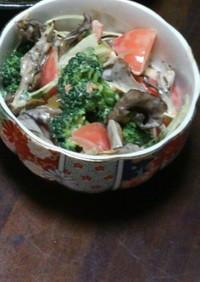 甘ウマ!緑黄色野菜とキノコのバタピー和え