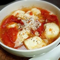 レンジで簡単♪トマトと豆腐の中華スープ♪