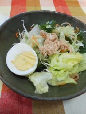 ツナと卵と海藻サラダ