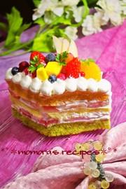 HMで簡単♡レンジで野菜の雛祭りケーキの写真