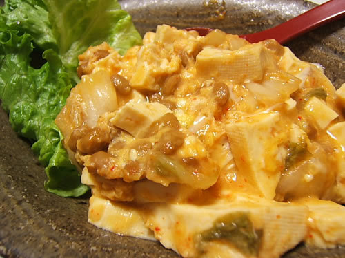 豆腐とキムチと納豆の炒め物