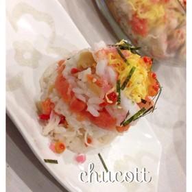 簡単♡ミニケーキ風海鮮ちらし寿司♡