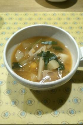 生姜&野菜たっぷり味噌キムチスープ
