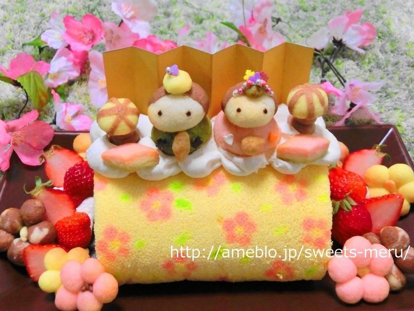 簡単~☆あっという間にお花のロールケーキ