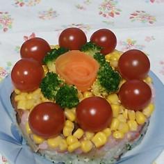 2014*ひな祭りの3色ちらし寿司ケーキ