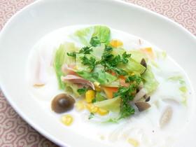 ハムと温野菜のミルクスープ