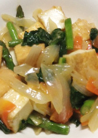 厚揚げとチンゲン菜のピリ辛炒め