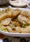 鶏むね肉と長芋のガリマヨポン炒め