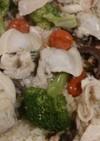 蛤とタコのフライパンでパエリア