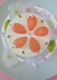 桜デコ✴桃チーズムースケーキ✴