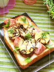 厚切りハム×さつま芋の塩昆布マヨトーストの写真