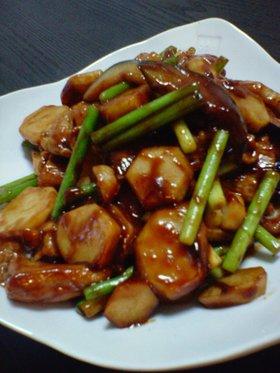 里芋と豚肉の味噌炒め