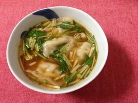 餃子入りキムチスープ
