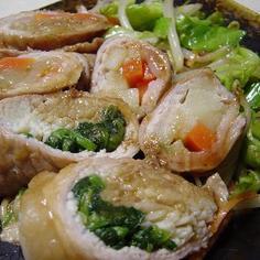 野菜の豚肉巻き照り焼き