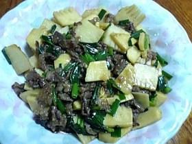 たけのこと牛肉のこっくり炒め物