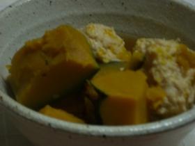 ボリューム満点、つくねとかぼちゃの煮物