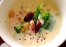 簡単*ミックスビーンズと野菜の豆乳スープ