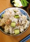 福島産きゅうりとベーコン缶の炊き込みご飯