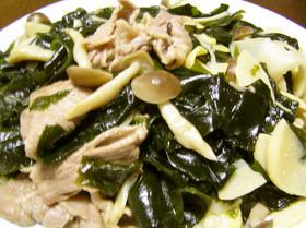 筍と豚肉とわかめの炒め物
