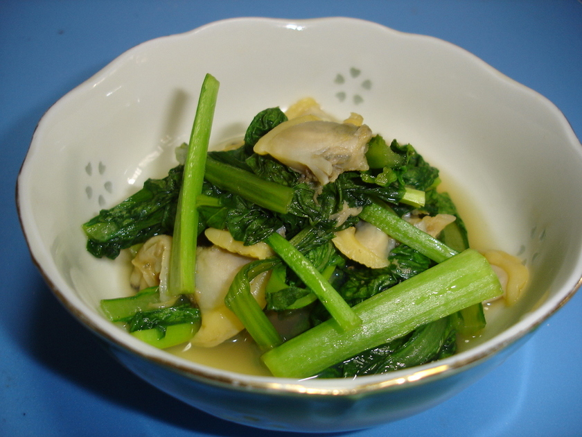 楽チン&グルグル♪青菜とあさりの煮浸し