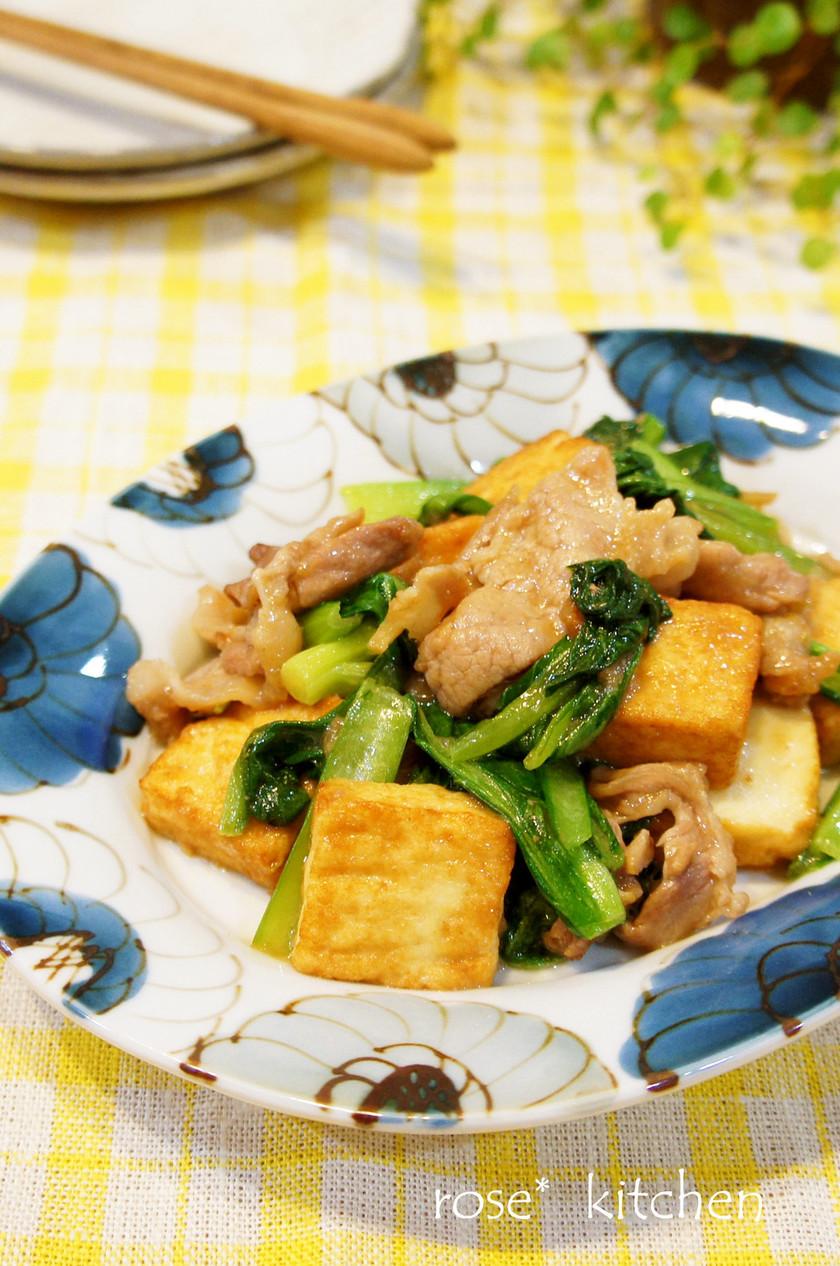 豚肉*青菜*厚揚げのオイスター炒め