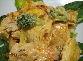 鮭と豆腐のケチャマヨ和え