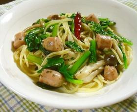 小松菜とソーセージのペペロンチーノパスタ