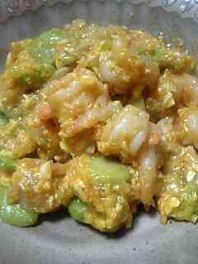 プリップリ!海老と空豆のチリソース