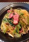 小松菜とベーコンの和風キノコパスタ