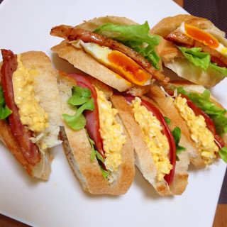 フランスパンでサンドウィッチ