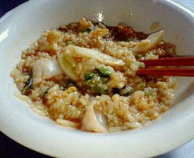 玄米入りキムチ卵ご飯