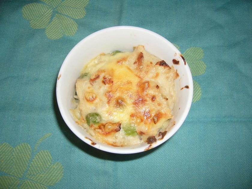 えんどう豆と玉ねぎの麩グラタン